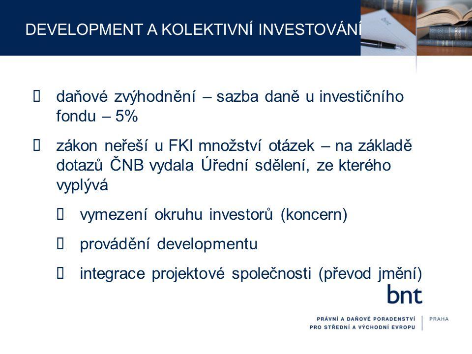 daňové zvýhodnění – sazba daně u investičního fondu – 5%