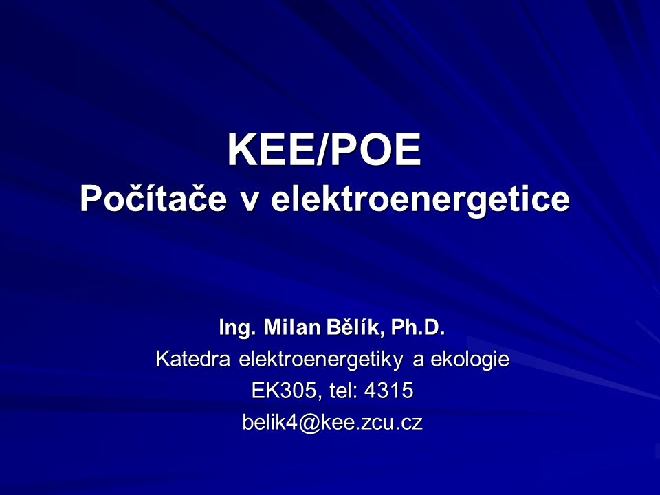 KEE/POE Počítače v elektroenergetice
