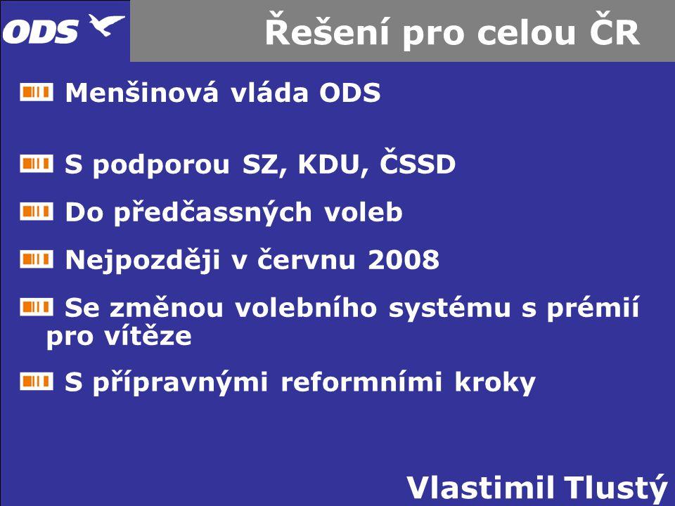 Řešení pro celou ČR Menšinová vláda ODS S podporou SZ, KDU, ČSSD