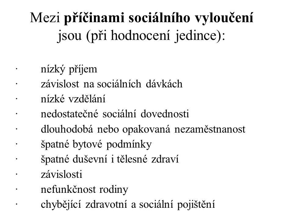 Mezi příčinami sociálního vyloučení jsou (při hodnocení jedince):