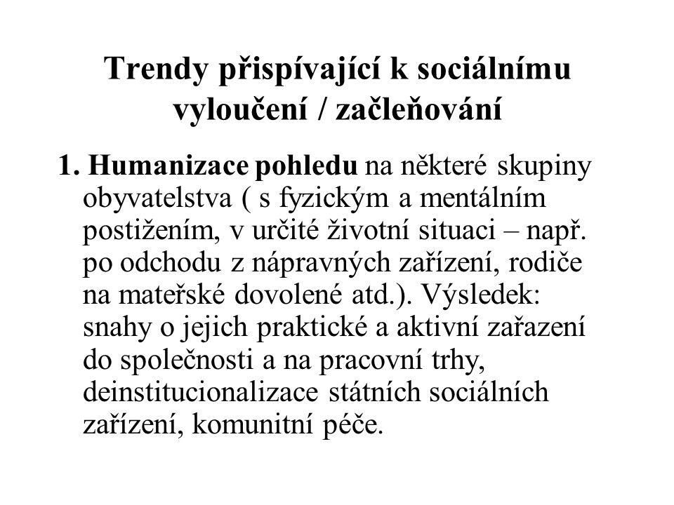 Trendy přispívající k sociálnímu vyloučení / začleňování