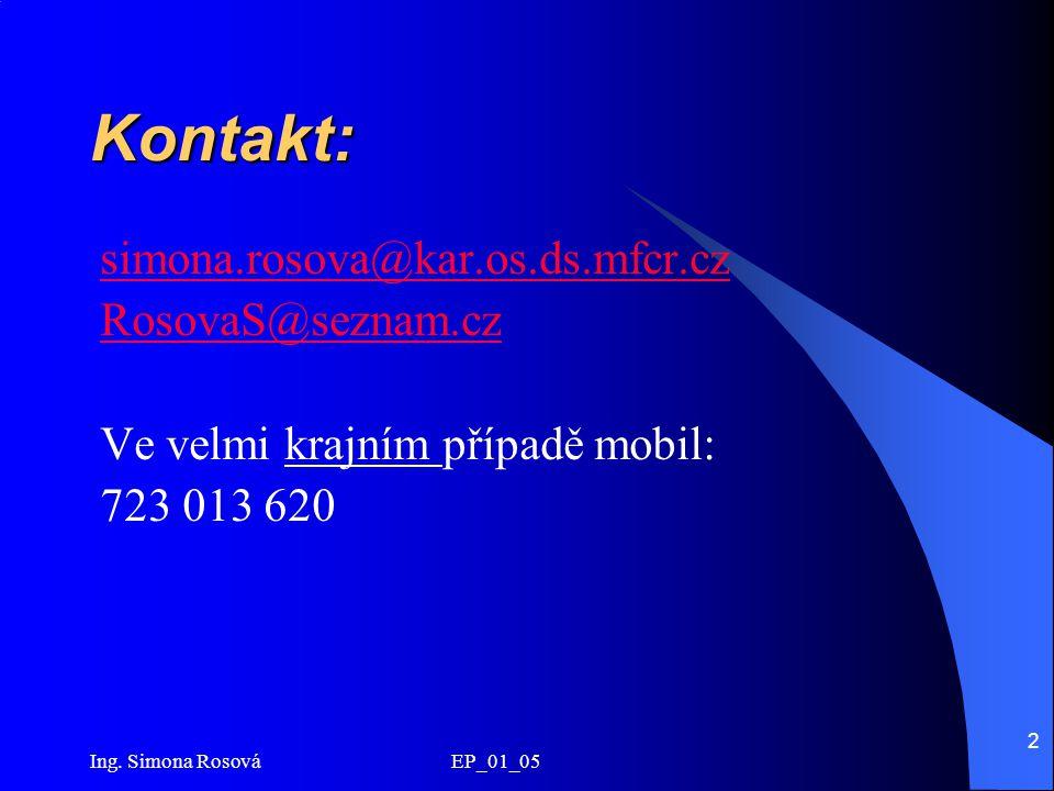 Kontakt: simona.rosova@kar.os.ds.mfcr.cz RosovaS@seznam.cz
