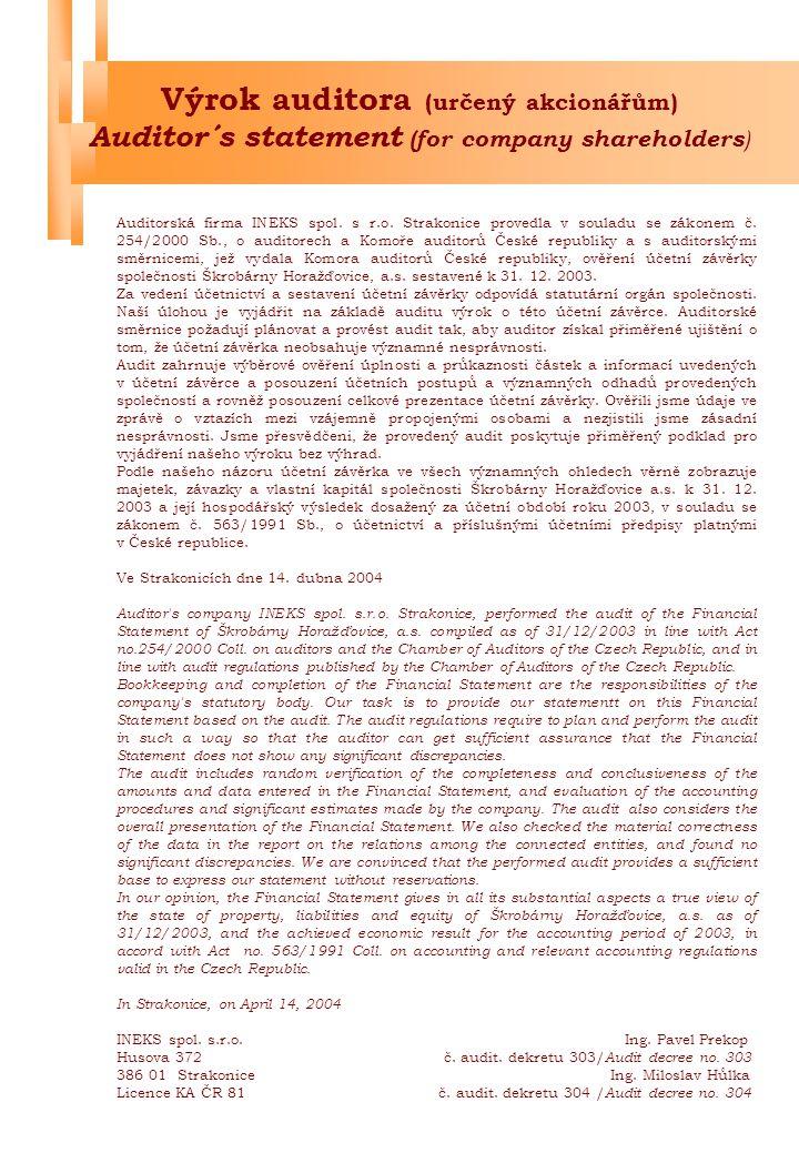 Výrok auditora (určený akcionářům) Auditor´s statement (for company shareholders)