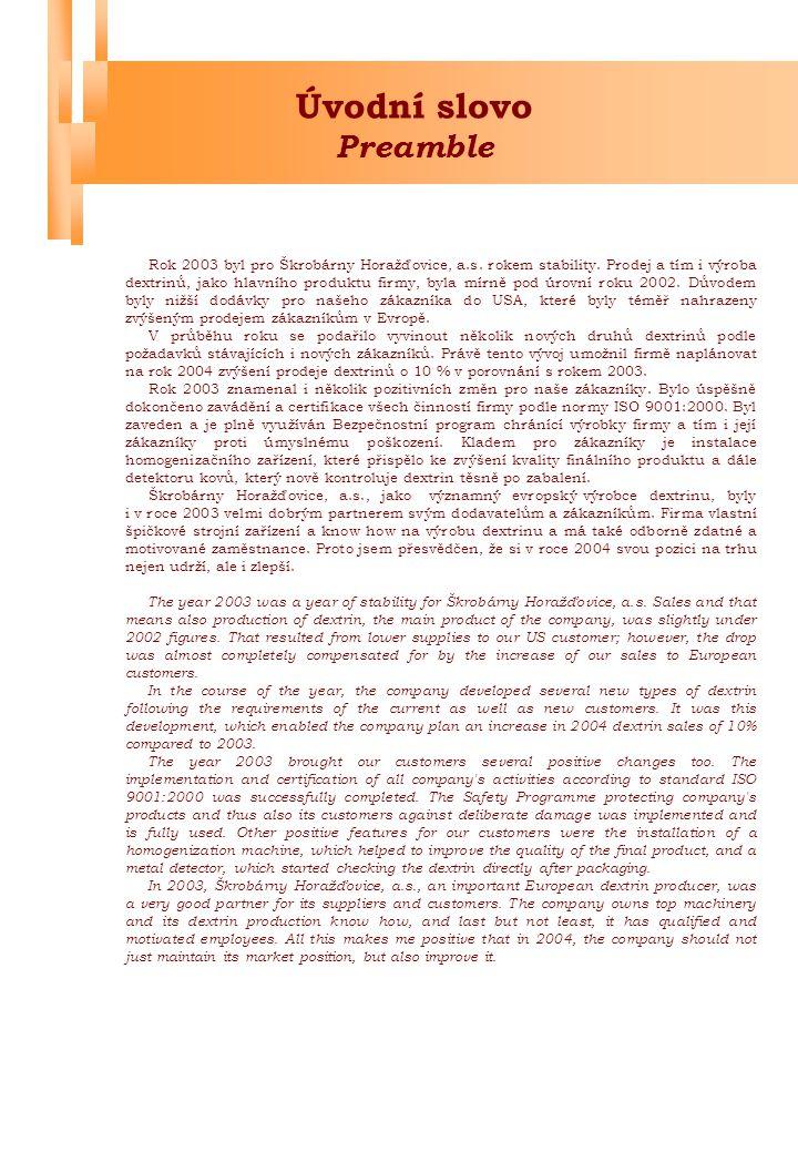 Úvodní slovo Preamble