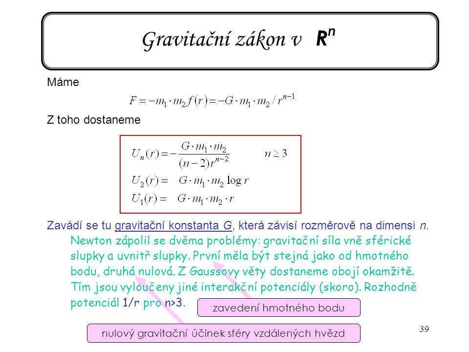 Gravitační zákon v Rn Máme Z toho dostaneme