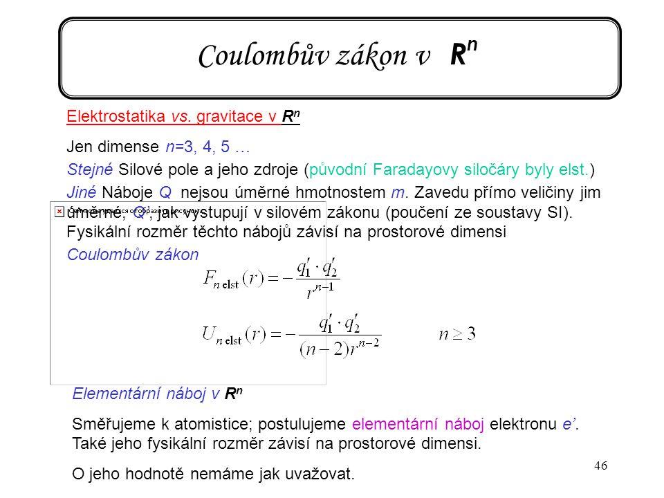 Coulombův zákon v Rn Elektrostatika vs. gravitace v Rn