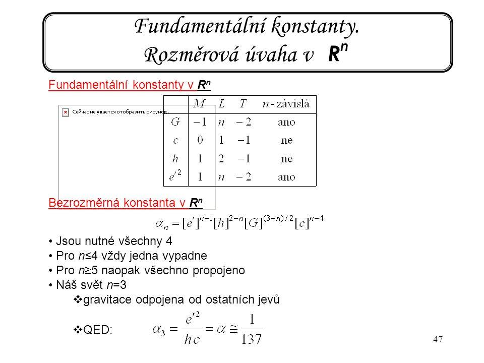 Fundamentální konstanty. Rozměrová úvaha v Rn