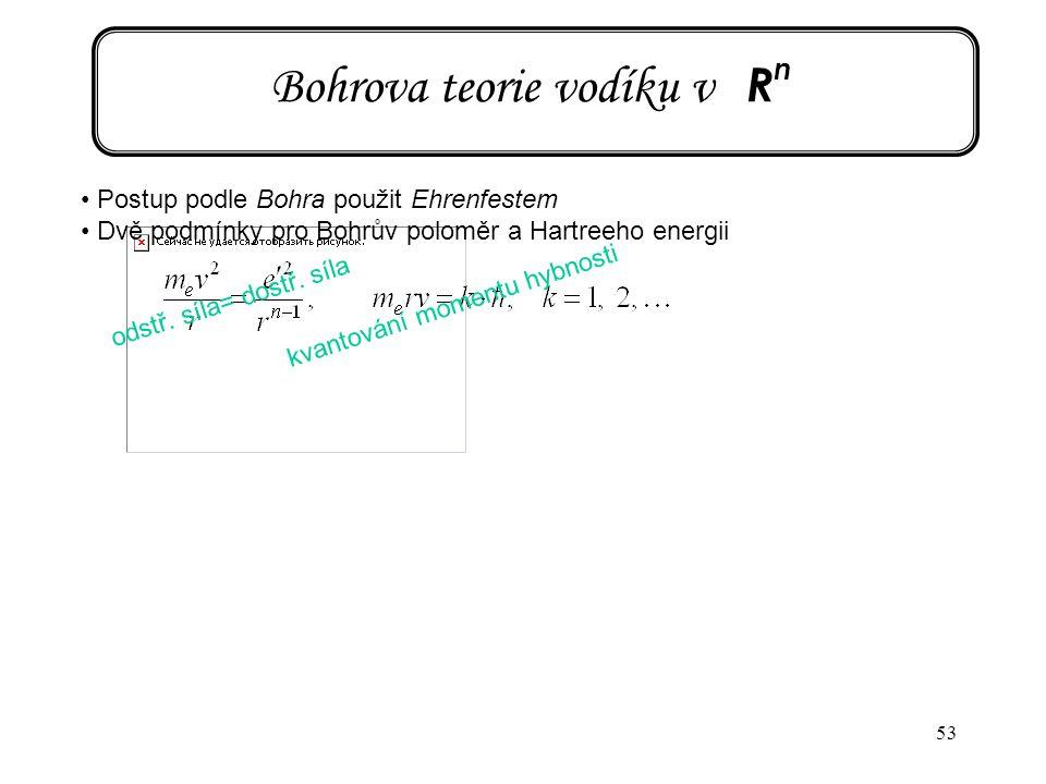 Bohrova teorie vodíku v Rn