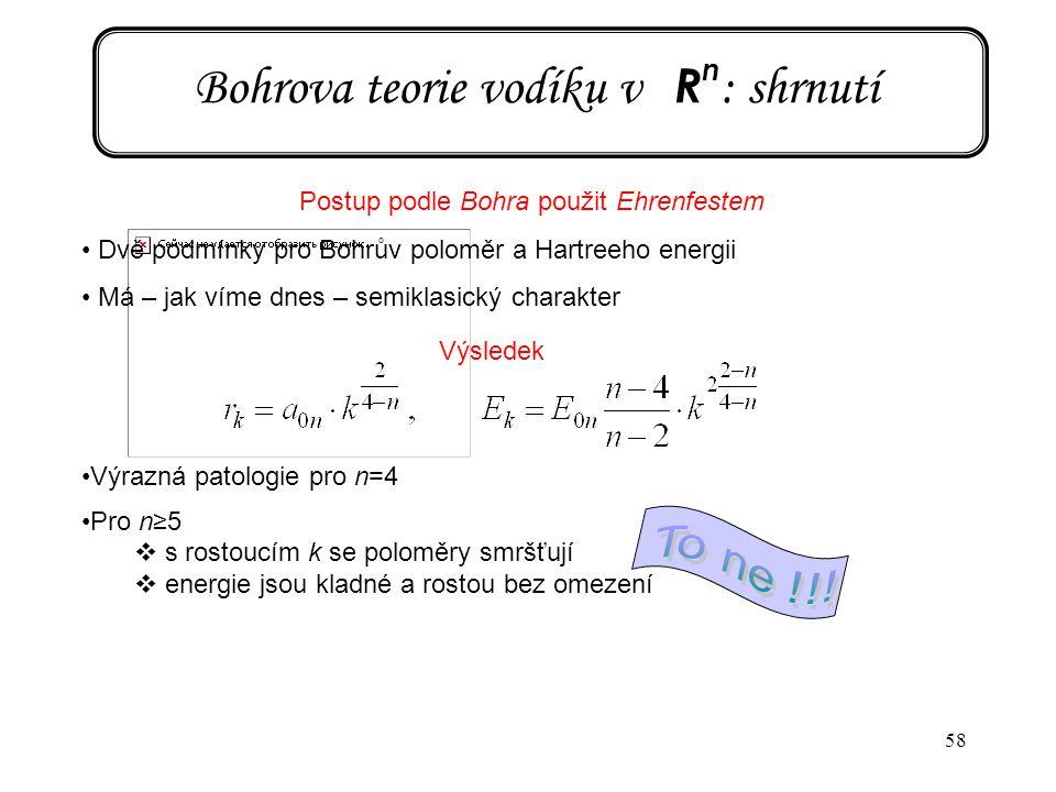 Bohrova teorie vodíku v Rn: shrnutí