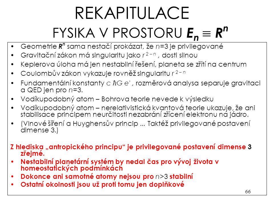 REKAPITULACE FYSIKA V PROSTORU En  Rn