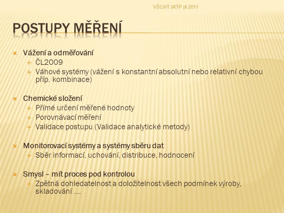 Postupy měření Vážení a odměřování ČL2009
