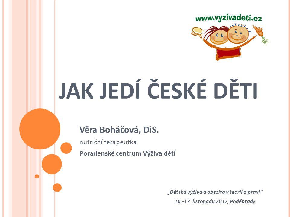 Věra Boháčová, DiS. nutriční terapeutka Poradenské centrum Výživa dětí