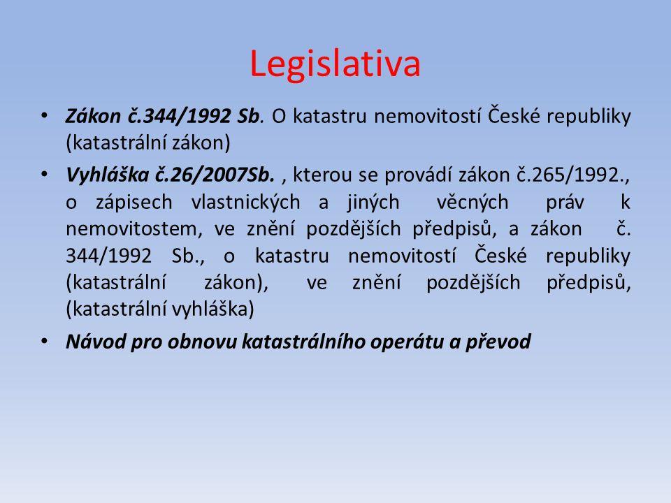 Legislativa Zákon č.344/1992 Sb. O katastru nemovitostí České republiky (katastrální zákon)