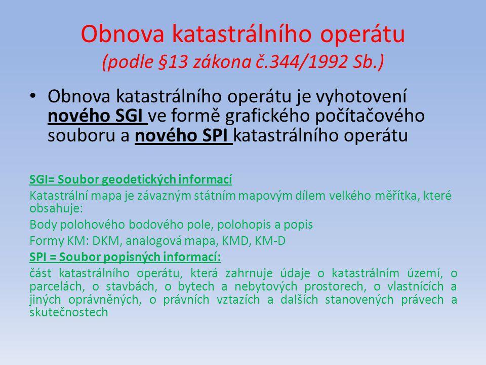 Obnova katastrálního operátu (podle §13 zákona č.344/1992 Sb.)