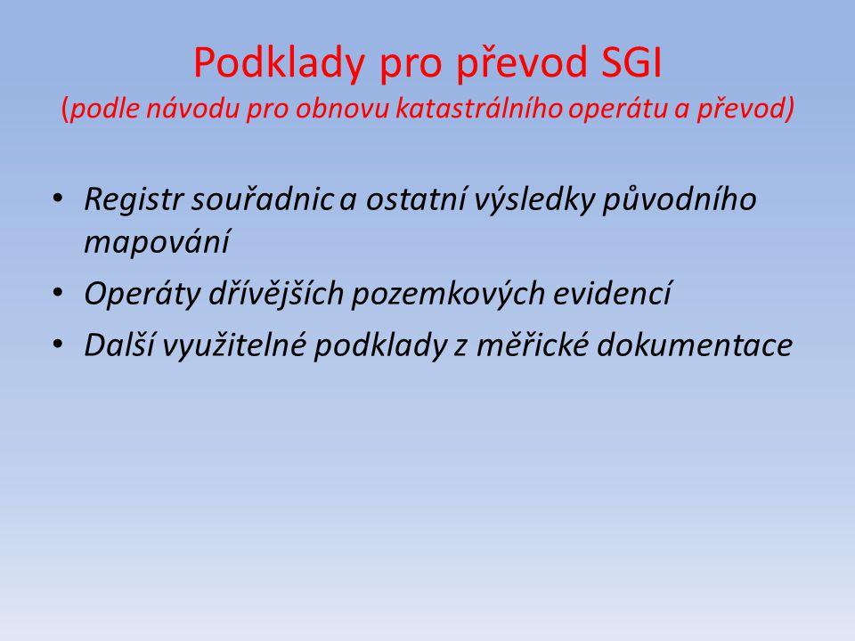 Podklady pro převod SGI (podle návodu pro obnovu katastrálního operátu a převod)