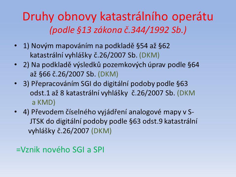 Druhy obnovy katastrálního operátu (podle §13 zákona č.344/1992 Sb.)