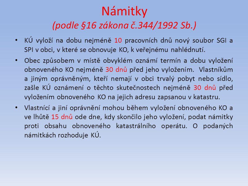 Námitky (podle §16 zákona č.344/1992 Sb.)