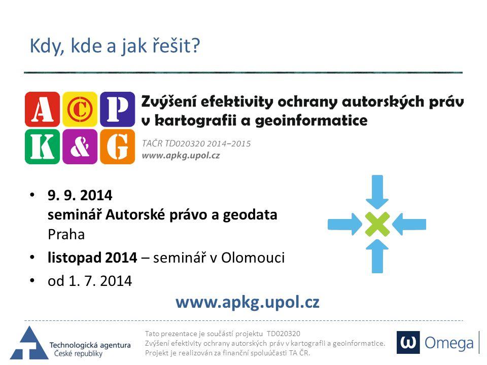 Kdy, kde a jak řešit 9. 9. 2014 seminář Autorské právo a geodata Praha. listopad 2014 – seminář v Olomouci.