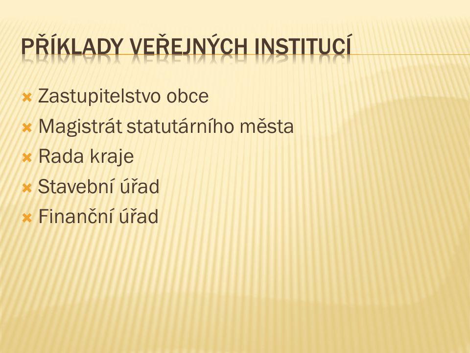 Příklady veřejných institucí