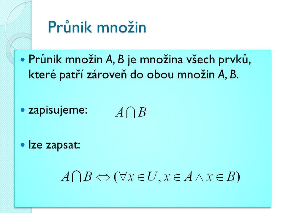 Průnik množin Průnik množin A, B je množina všech prvků, které patří zároveň do obou množin A, B. zapisujeme: