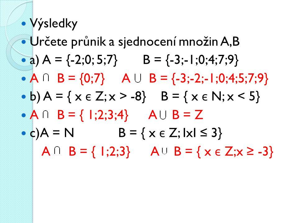 Výsledky Určete průnik a sjednocení množin A,B. a) A = {-2;0; 5;7} B = {-3;-1;0;4;7;9} A B = {0;7} A B = {-3;-2;-1;0;4;5;7;9}