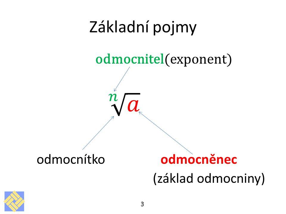 𝑛 𝑎 Základní pojmy odmocnitel(exponent) odmocnítko odmocněnec