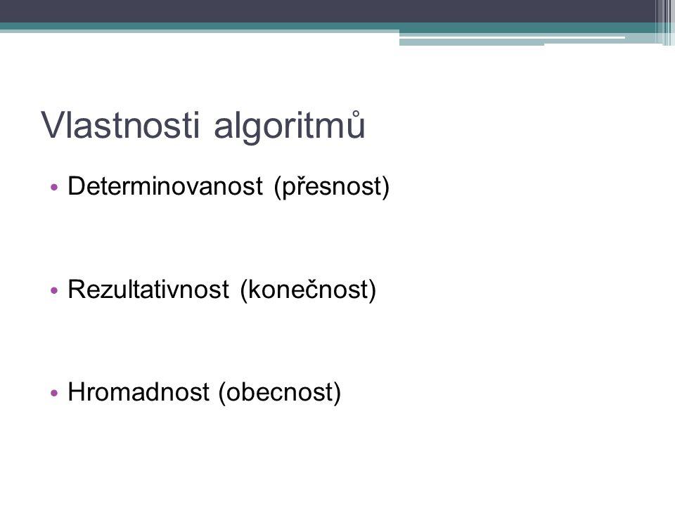 Vlastnosti algoritmů Determinovanost (přesnost)