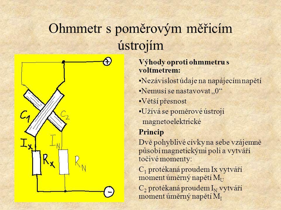 Ohmmetr s poměrovým měřicím ústrojím