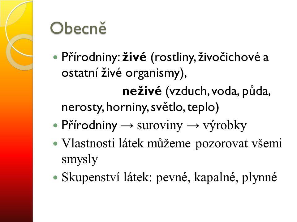 Obecně Přírodniny: živé (rostliny, živočichové a ostatní živé organismy), neživé (vzduch, voda, půda, nerosty, horniny, světlo, teplo)
