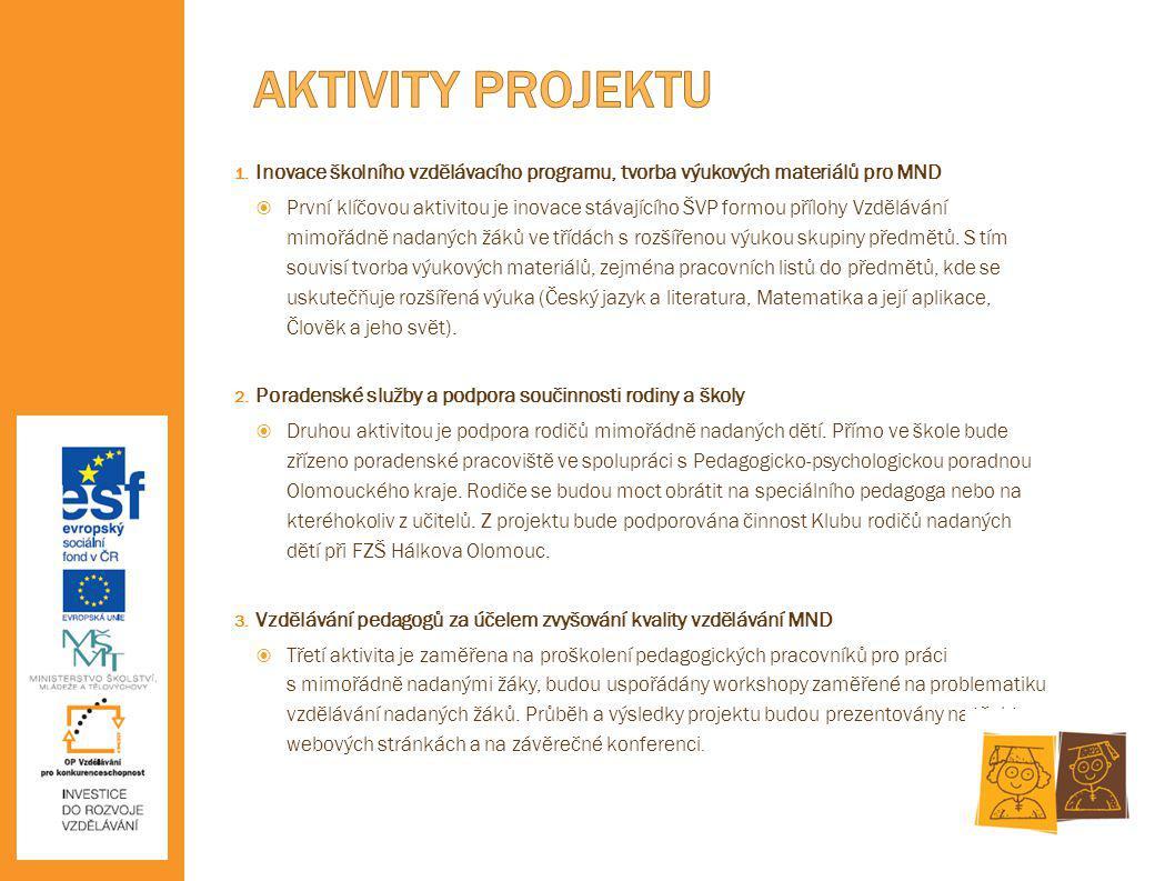 AKTIVITY PROJEKTU Inovace školního vzdělávacího programu, tvorba výukových materiálů pro MND.