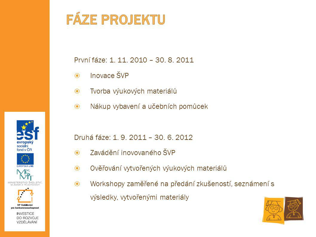 FÁZE PROJEKTU První fáze: 1. 11. 2010 – 30. 8. 2011 Inovace ŠVP