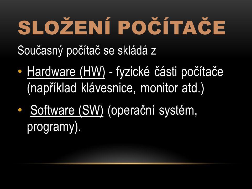 Složení počítače Software (SW) (operační systém, programy).