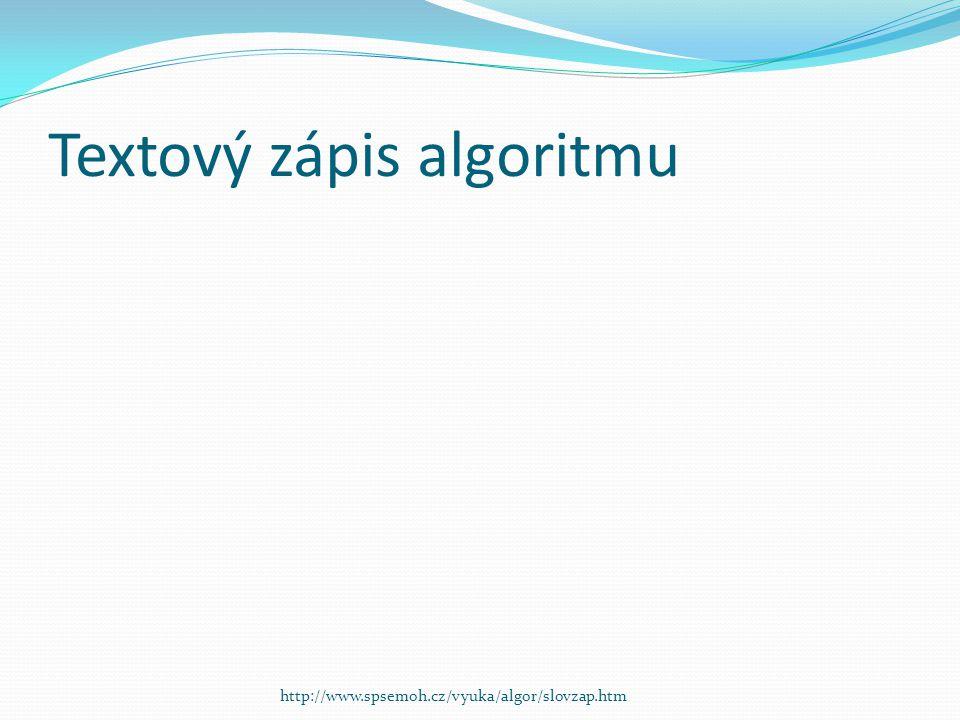 Textový zápis algoritmu