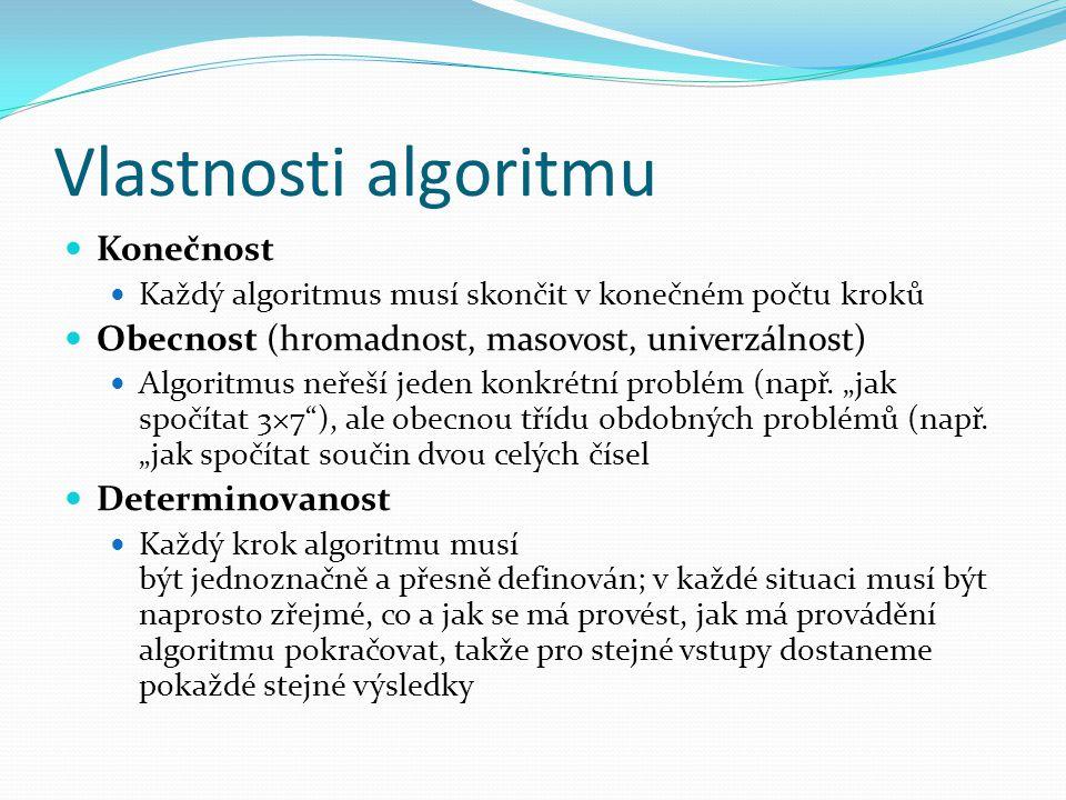 Vlastnosti algoritmu Konečnost