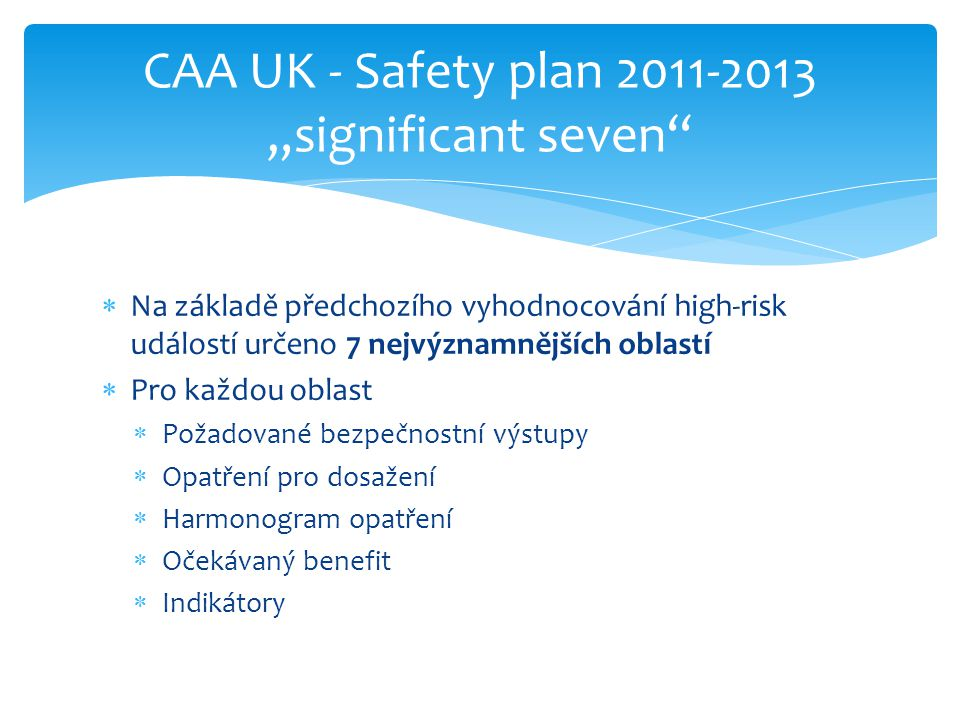 "CAA UK - Safety plan 2011-2013 ""significant seven"