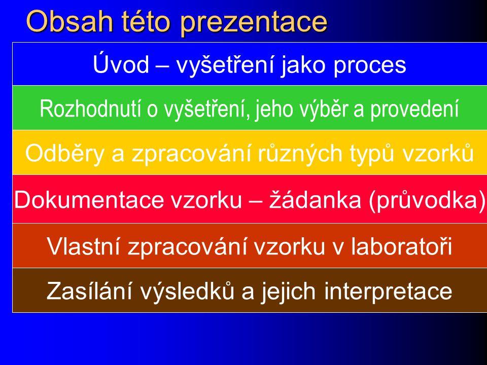 Obsah této prezentace Úvod – vyšetření jako proces