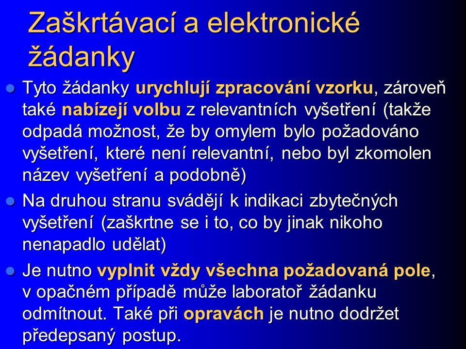 Zaškrtávací a elektronické žádanky