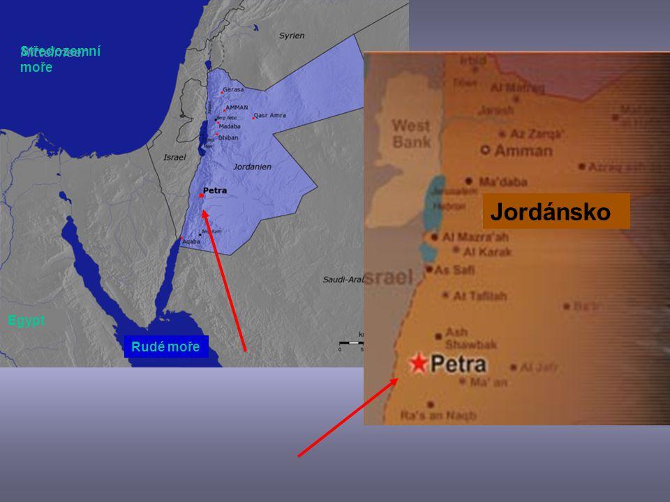 Středozemní moře Jordánsko Egypt Rudé moře