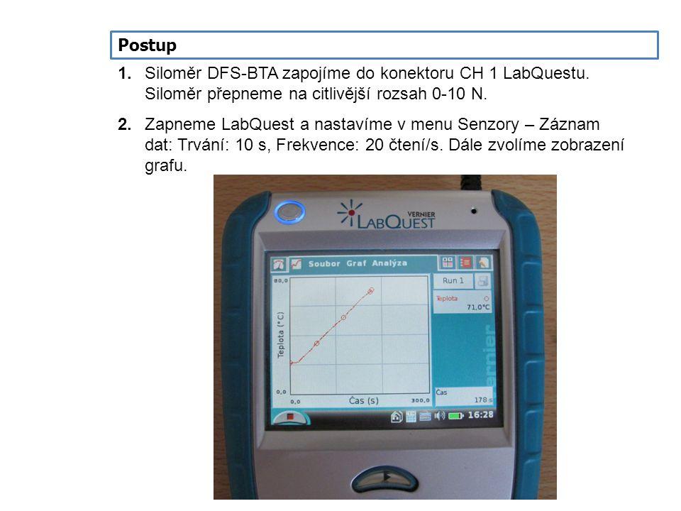 Postup 1. Siloměr DFS-BTA zapojíme do konektoru CH 1 LabQuestu. Siloměr přepneme na citlivější rozsah 0-10 N.