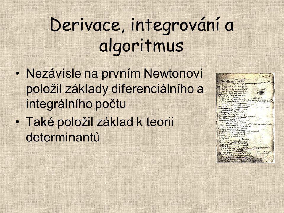 Derivace, integrování a algoritmus