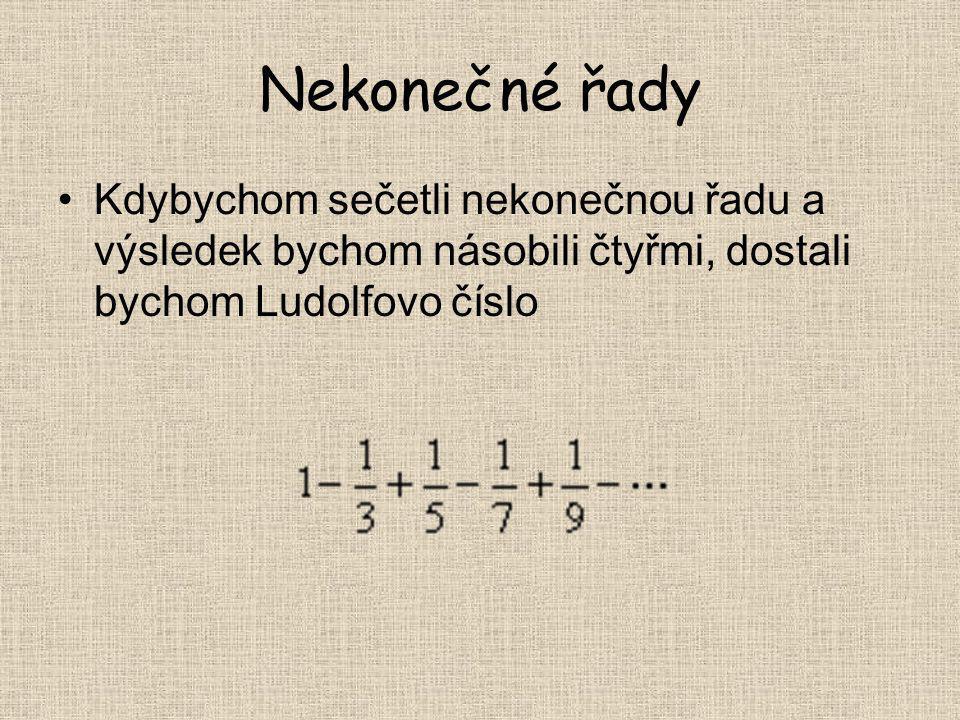 Nekonečné řady Kdybychom sečetli nekonečnou řadu a výsledek bychom násobili čtyřmi, dostali bychom Ludolfovo číslo.