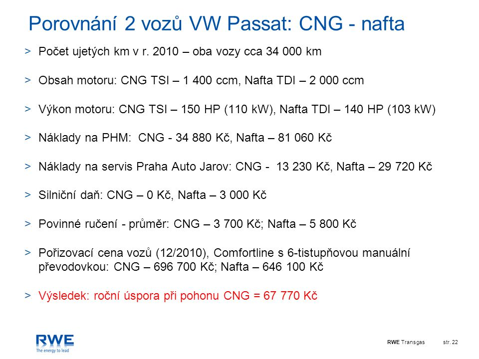 Porovnání 2 vozů VW Passat: CNG - nafta