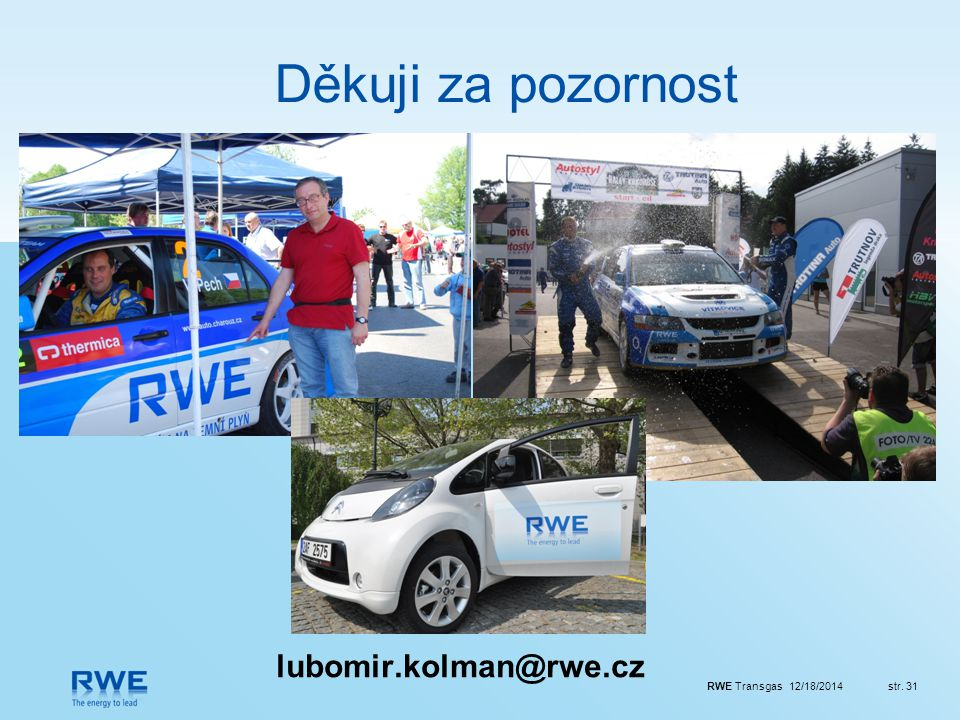 Děkuji za pozornost lubomir.kolman@rwe.cz
