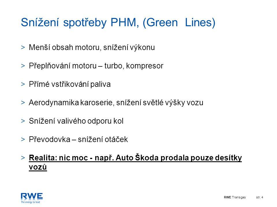 Snížení spotřeby PHM, (Green Lines)