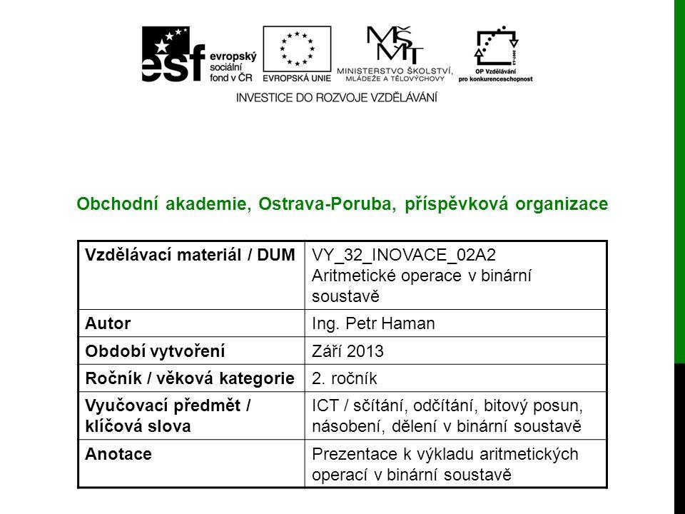 Obchodní akademie, Ostrava-Poruba, příspěvková organizace