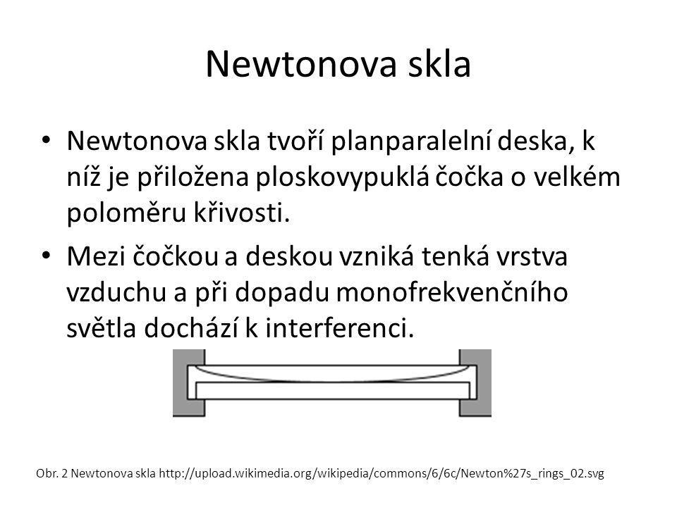 Newtonova skla Newtonova skla tvoří planparalelní deska, k níž je přiložena ploskovypuklá čočka o velkém poloměru křivosti.