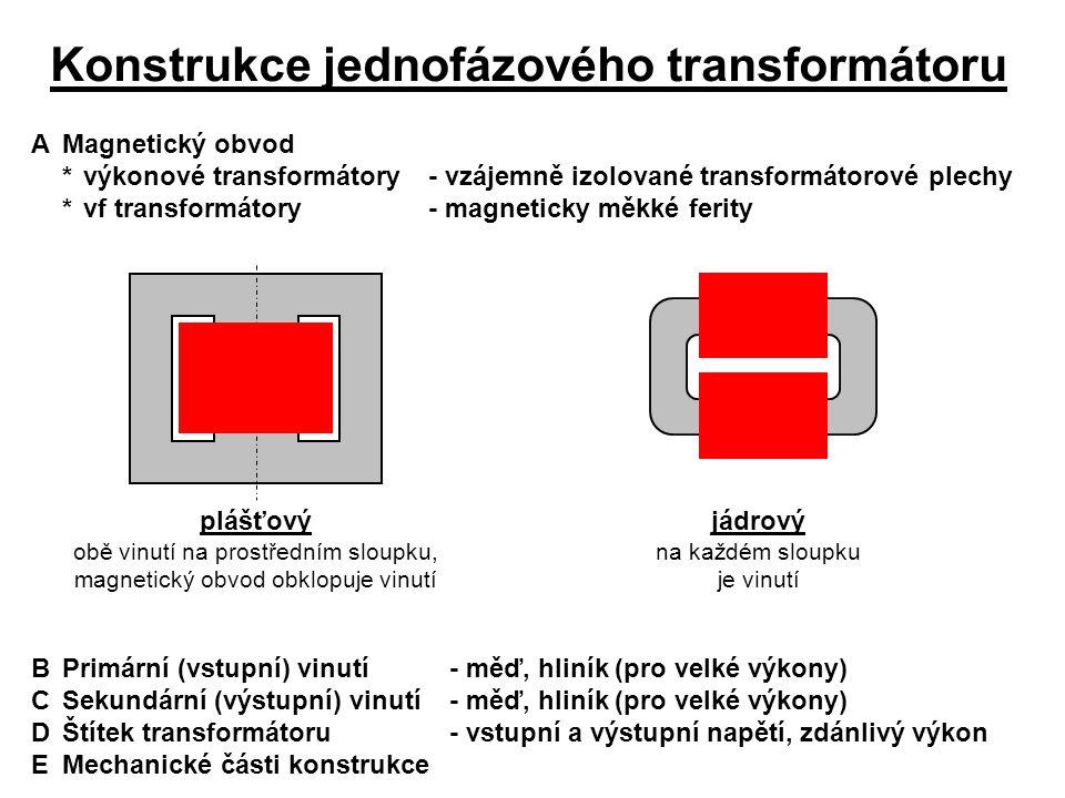 Konstrukce jednofázového transformátoru