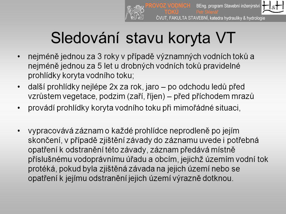 Sledování stavu koryta VT