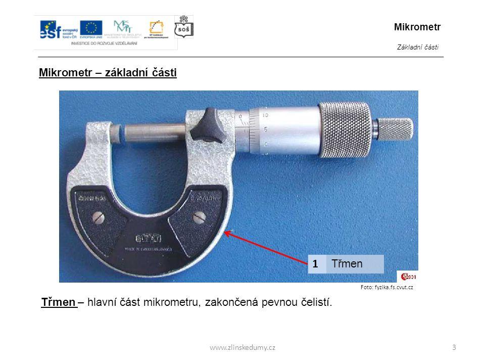 1 Mikrometr – základní části Třmen