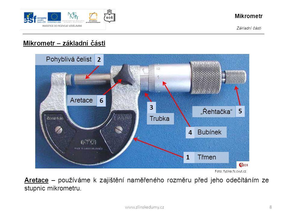 2 6 3 5 4 1 Mikrometr – základní části Pohyblivá čelist Aretace